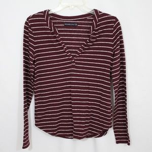 Abercrombie & Fitch Maroon Striped Top Size Small